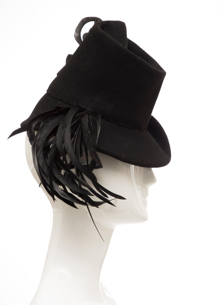Women's Created By Victoria New York Black Felt Appliquéd Feathers Hat, Circa: 1930's For Sale