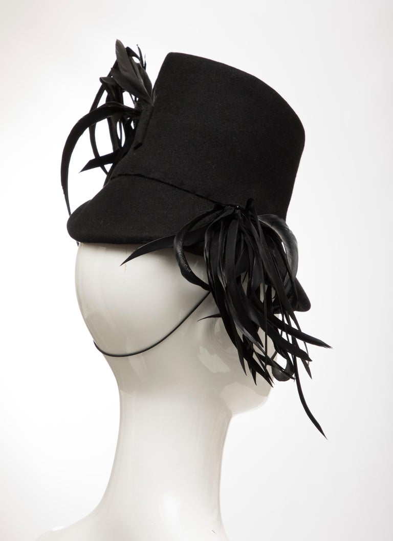 Created By Victoria New York Black Felt Appliquéd Feathers Hat, Circa: 1930's For Sale 1