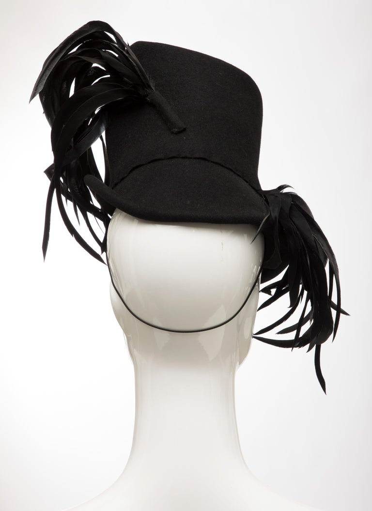Created By Victoria New York Black Felt Appliquéd Feathers Hat, Circa: 1930's For Sale 2
