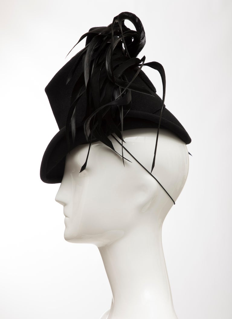Created By Victoria New York Black Felt Appliquéd Feathers Hat, Circa: 1930's For Sale 4