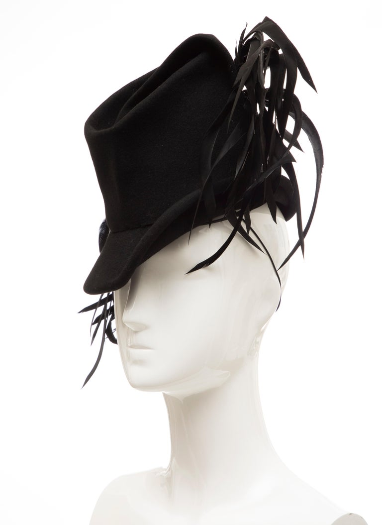 Created By Victoria New York Black Felt Appliquéd Feathers Hat, Circa: 1930's For Sale 5