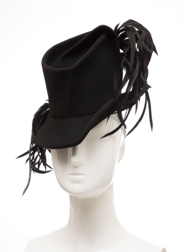 Created By Victoria New York Black Felt Appliquéd Feathers Hat, Circa: 1930's For Sale 6