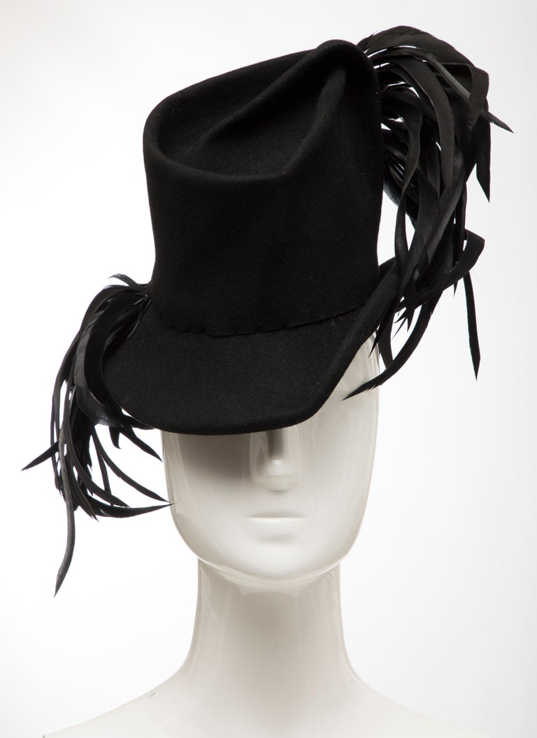Created By Victoria New York Black Felt Appliquéd Feathers Hat, Circa: 1930's For Sale 7