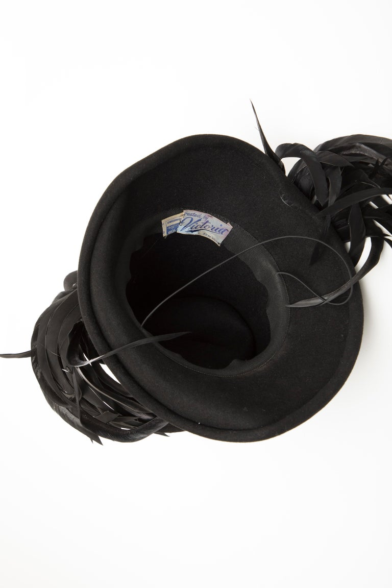 Created By Victoria New York Black Felt Appliquéd Feathers Hat, Circa: 1930's For Sale 8
