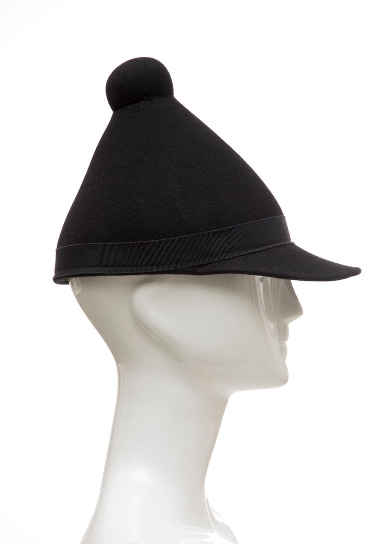 Henrik Vibskov Men's Runway The Eat Black Wool Felt Cone Hat, Fall 2011 In Excellent Condition For Sale In Cincinnati, OH