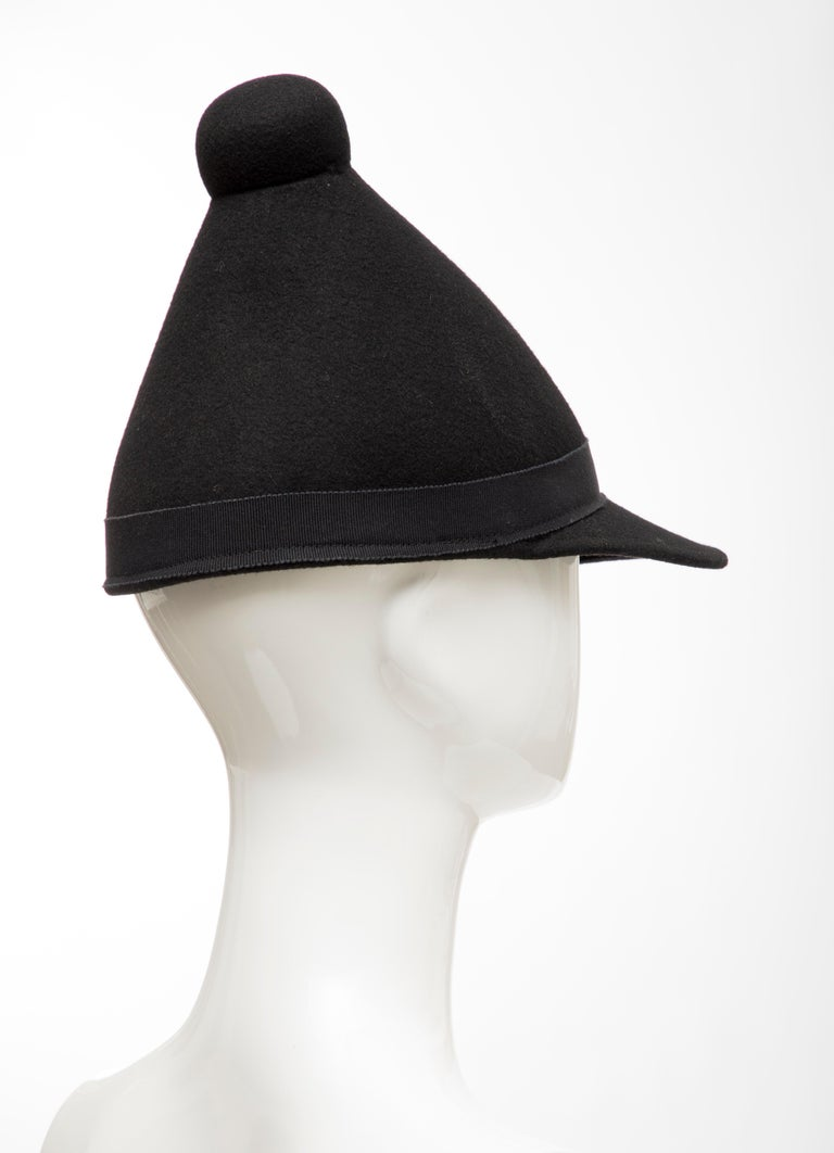Henrik Vibskov Men's Runway The Eat Black Wool Felt Cone Hat, Fall 2011 For Sale 1
