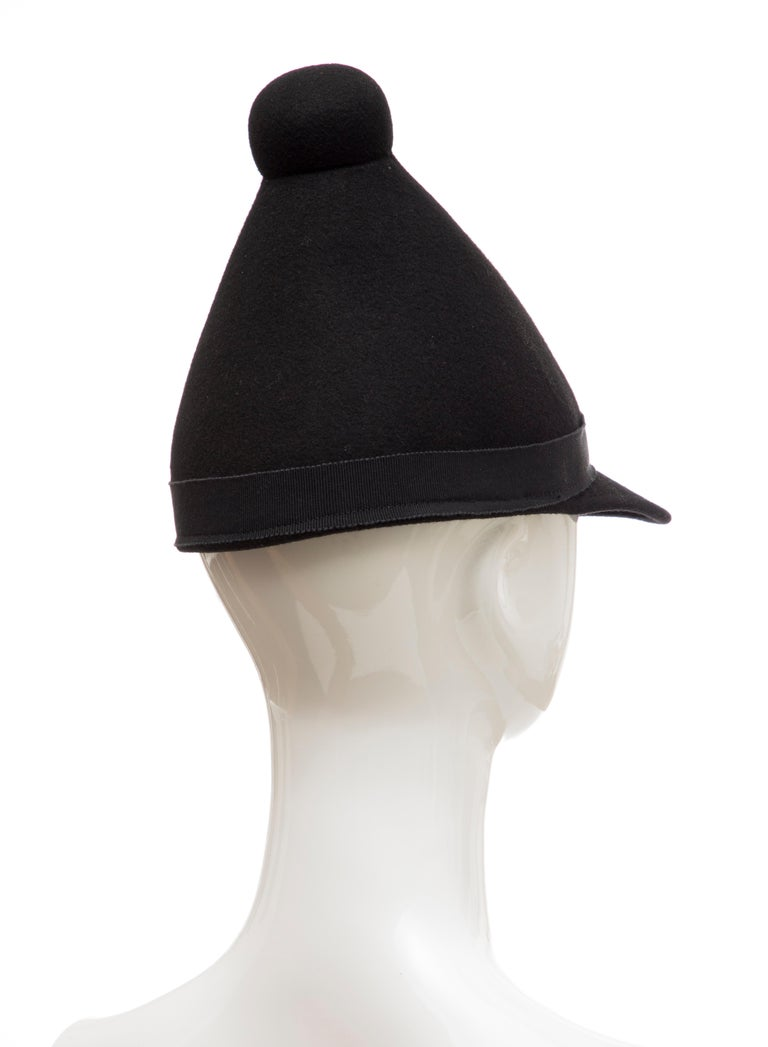Henrik Vibskov Men's Runway The Eat Black Wool Felt Cone Hat, Fall 2011 For Sale 2