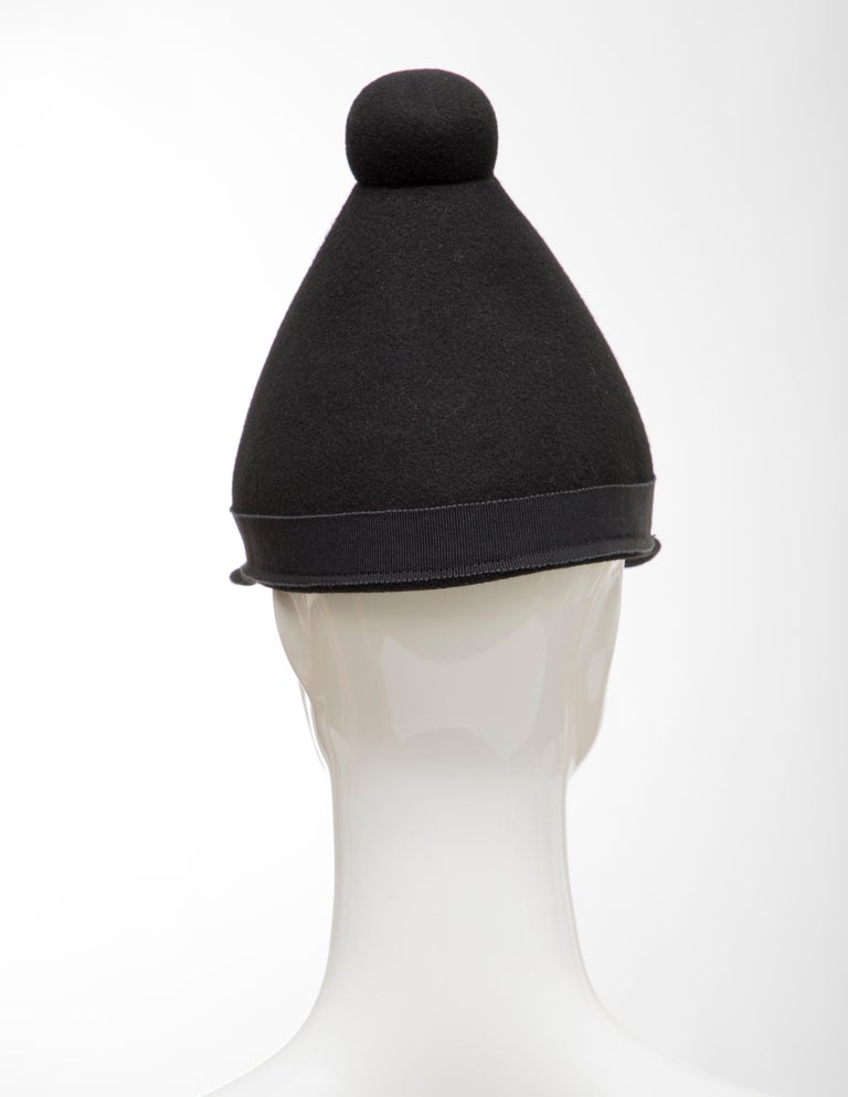 Henrik Vibskov Men's Runway The Eat Black Wool Felt Cone Hat, Fall 2011 For Sale 3