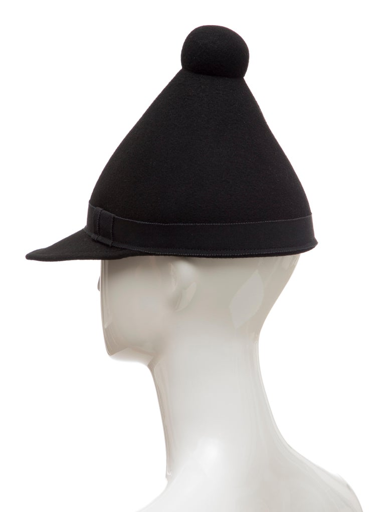 Henrik Vibskov Men's Runway The Eat Black Wool Felt Cone Hat, Fall 2011 For Sale 4