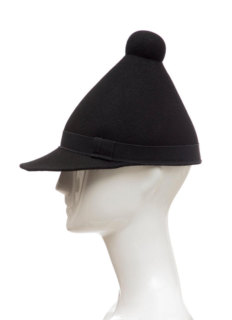 Henrik Vibskov Men's Runway The Eat Black Wool Felt Cone Hat, Fall 2011 For Sale 5