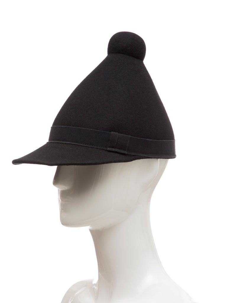 Henrik Vibskov Men's Runway The Eat Black Wool Felt Cone Hat, Fall 2011 For Sale 6