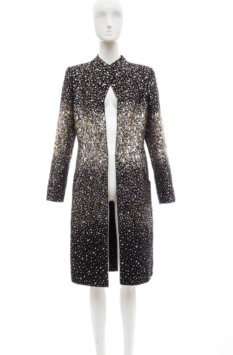 Oscar de la Renta, Fall 2006 Runway black open front evening coat with embroidered sequin embellishments throughout, mock neck and dual seam pockets.  US. 10  Bust: 40, Waist: 38, Hip: 46, Shoulder: 15.5, Length: 42, Sleeve: 25