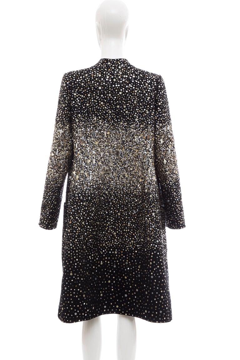 Oscar De La Renta Runway Black Embroidered Sequin Evening Coat, Fall 2006 For Sale 5