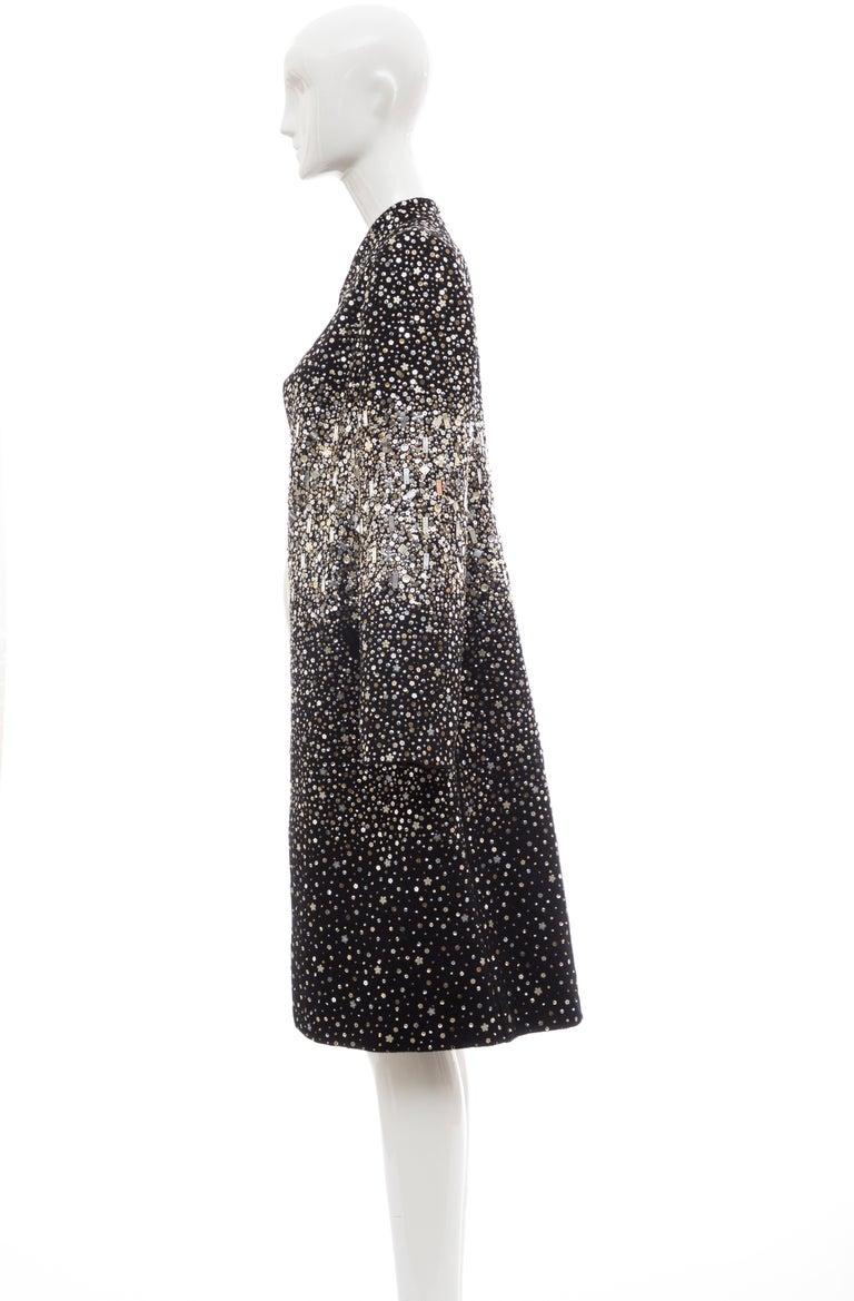Oscar De La Renta Runway Black Embroidered Sequin Evening Coat, Fall 2006 For Sale 7