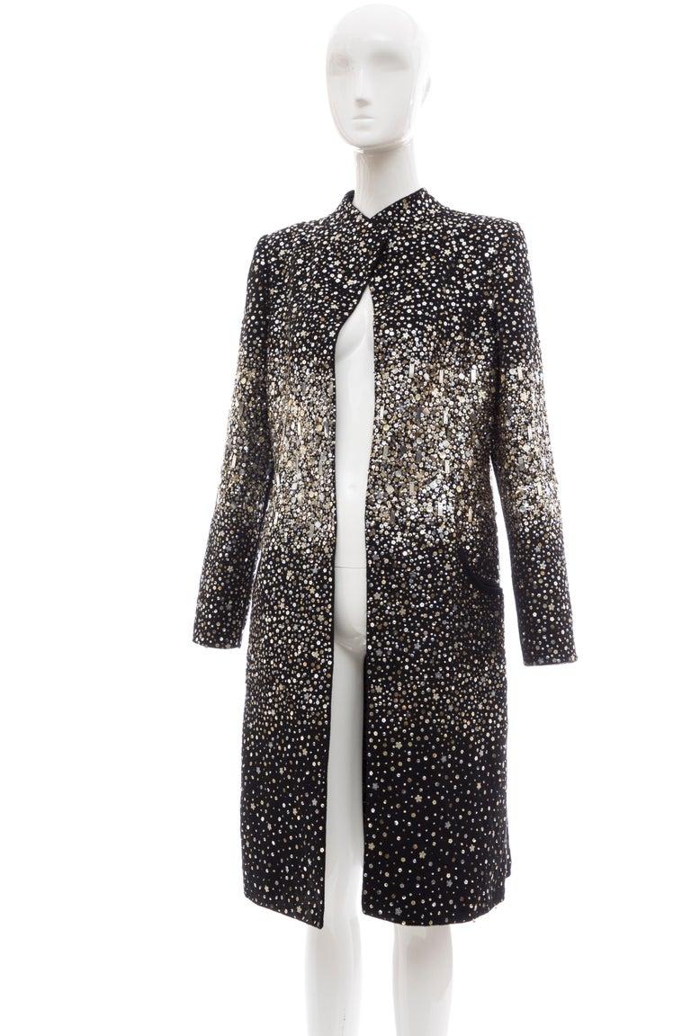 Oscar De La Renta Runway Black Embroidered Sequin Evening Coat, Fall 2006 For Sale 8