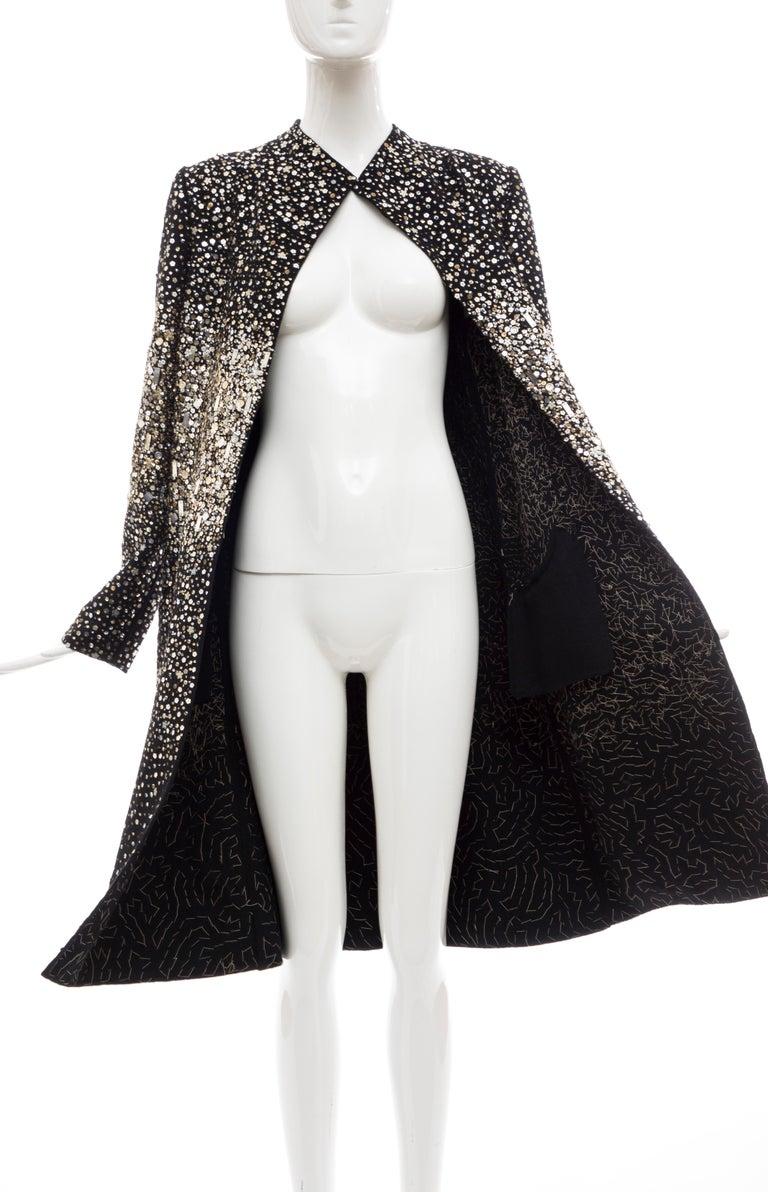 Oscar De La Renta Runway Black Embroidered Sequin Evening Coat, Fall 2006 For Sale 9