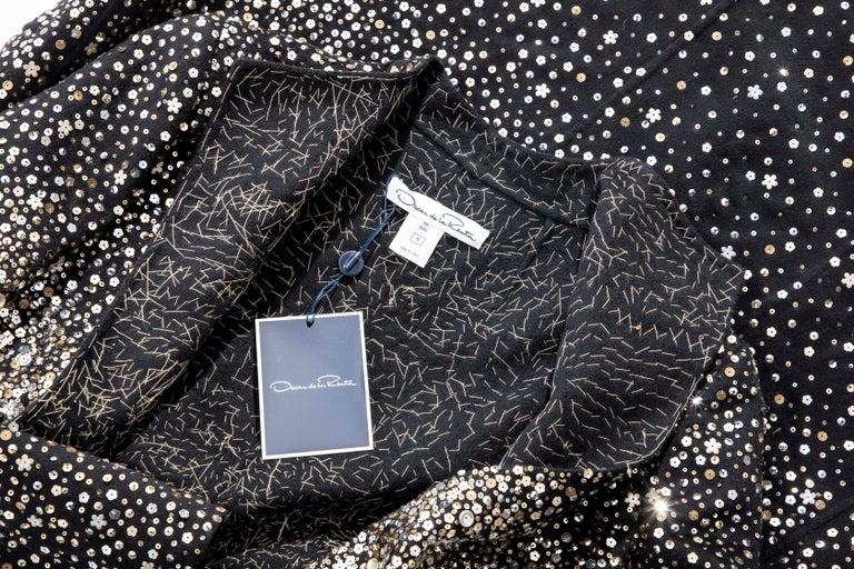 Oscar De La Renta Runway Black Embroidered Sequin Evening Coat, Fall 2006 For Sale 11