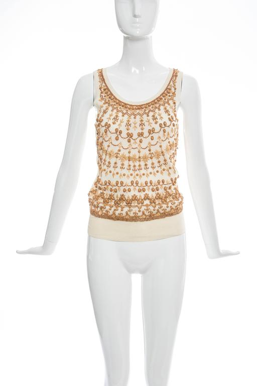 Alexander McQueen Cream Cotton Silk Tank Embroidered Wood Beading, Spring 2006 2