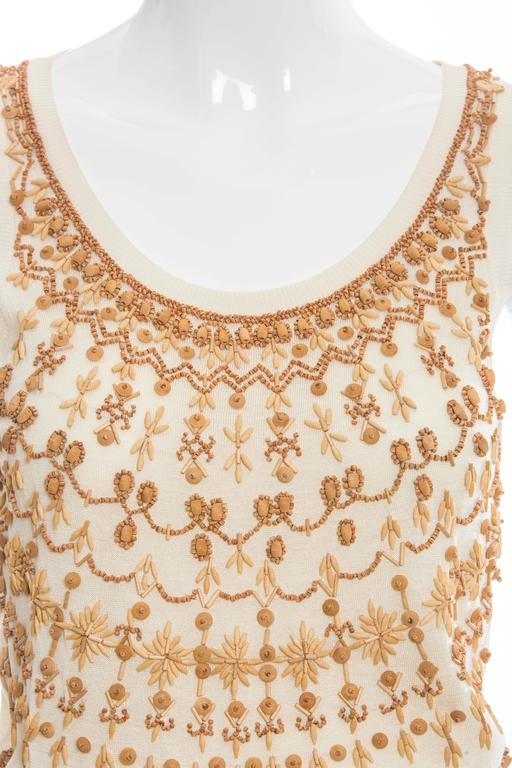 Alexander McQueen Cream Cotton Silk Tank Embroidered Wood Beading, Spring 2006 5