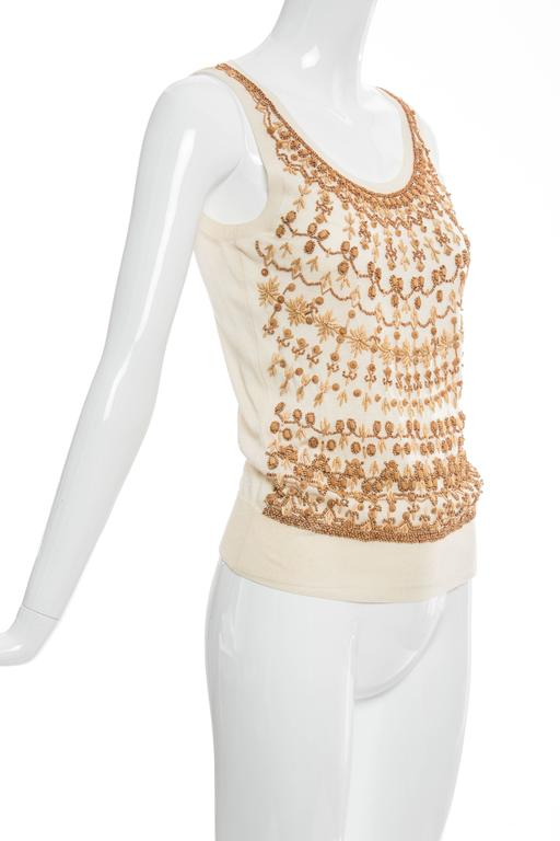 Alexander McQueen Cream Cotton Silk Tank Embroidered Wood Beading, Spring 2006 3