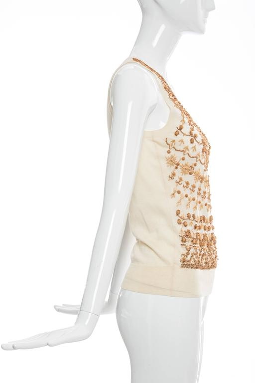 Alexander McQueen Cream Cotton Silk Tank Embroidered Wood Beading, Spring 2006 4