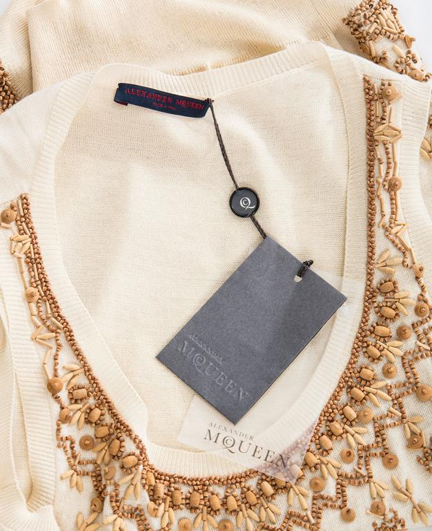 Alexander McQueen Cream Cotton Silk Tank Embroidered Wood Beading, Spring 2006 7