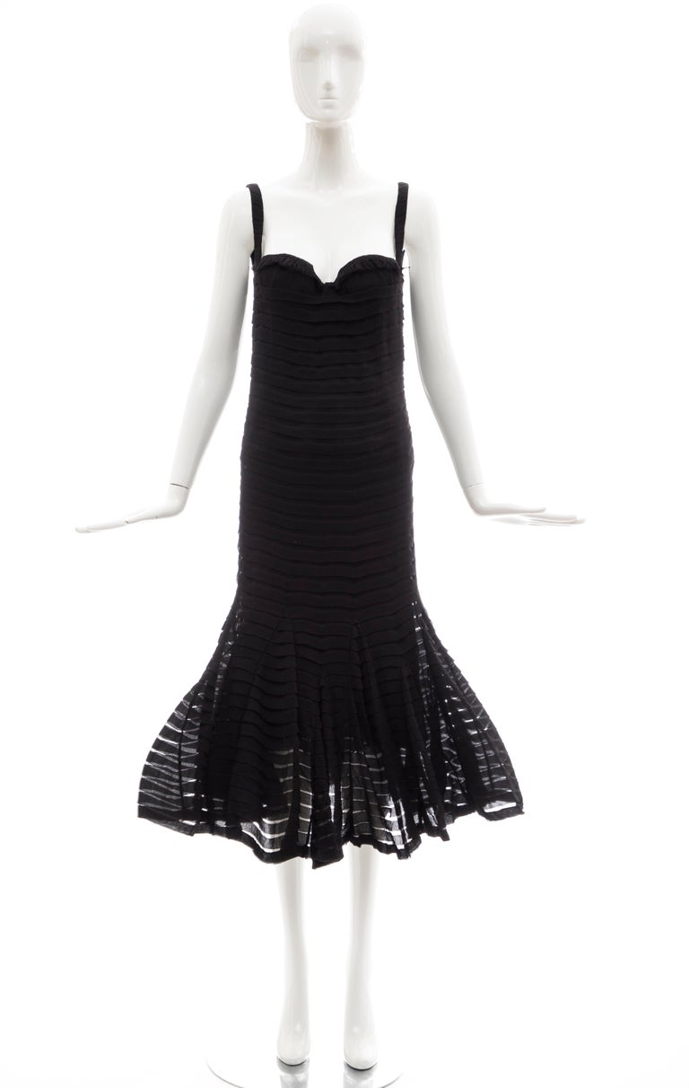 ALexander McQueen, Fall 2005 black silk chiffon evening dress with spaghetti strap and sweetheart neckline with back zip, built in brasiere and fully lined in double layered silk chiffon.  IT: 42 US: 6 Bust: 30, Waist 30, Hip: 32, Length: 48