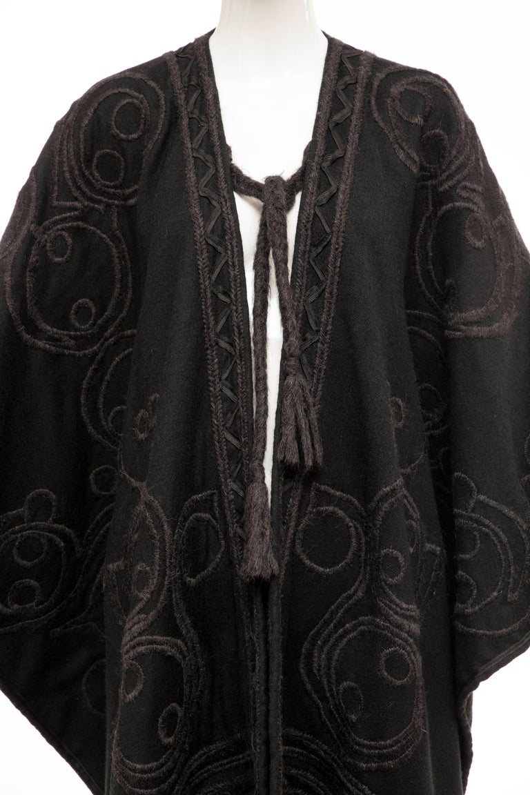 Women's Dries Van Noten Runway Black Wool Embroidered Fringe Cape, Fall 2002 For Sale