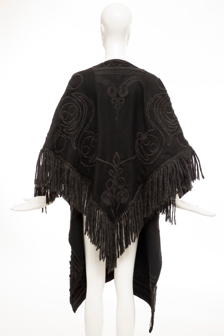 Dries Van Noten Runway Black Wool Embroidered Fringe Cape, Fall 2002 For Sale 1