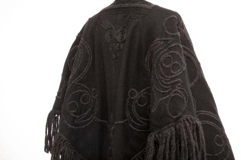 Dries Van Noten Runway Black Wool Embroidered Fringe Cape, Fall 2002 For Sale 4
