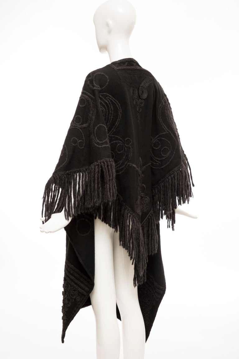 Dries Van Noten Runway Black Wool Embroidered Fringe Cape, Fall 2002 For Sale 5
