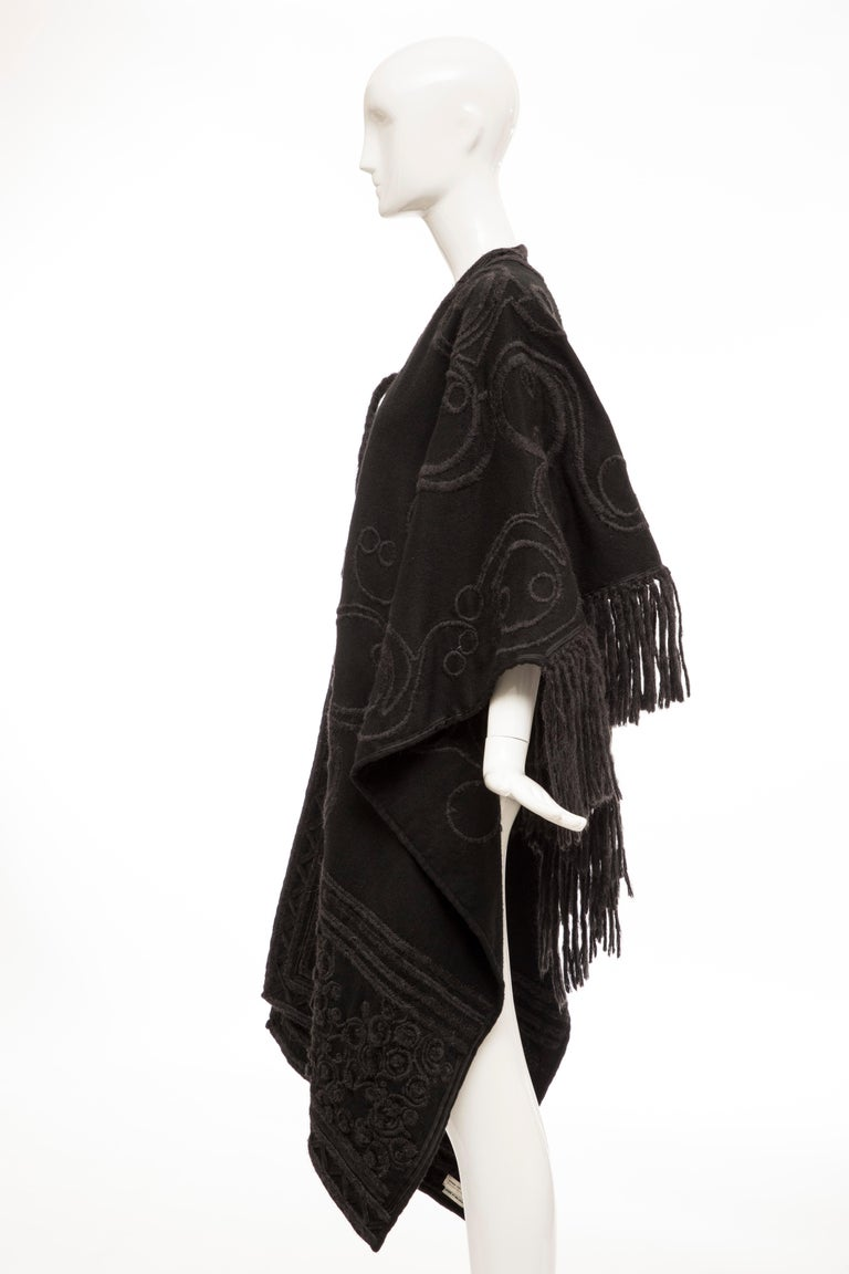 Dries Van Noten Runway Black Wool Embroidered Fringe Cape, Fall 2002 For Sale 6