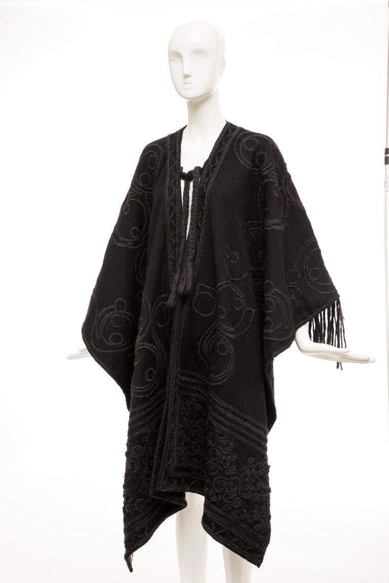Dries Van Noten Runway Black Wool Embroidered Fringe Cape, Fall 2002 For Sale 7