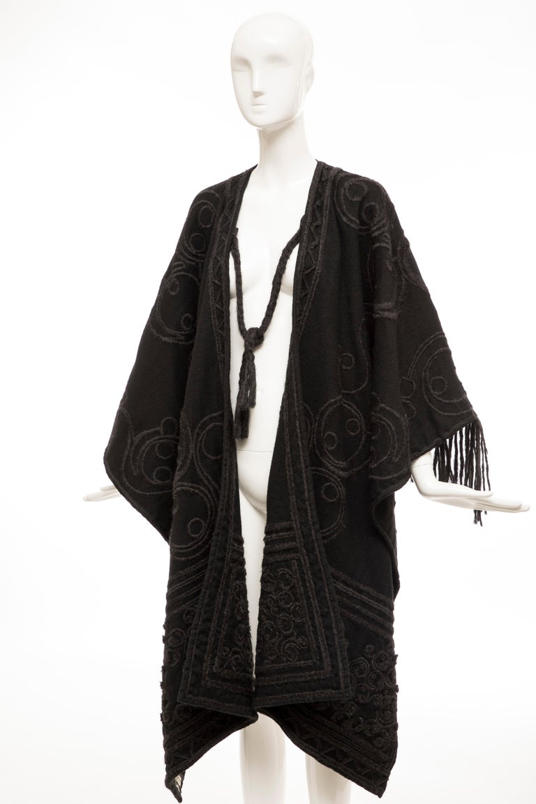 Dries Van Noten Runway Black Wool Embroidered Fringe Cape, Fall 2002 For Sale 8