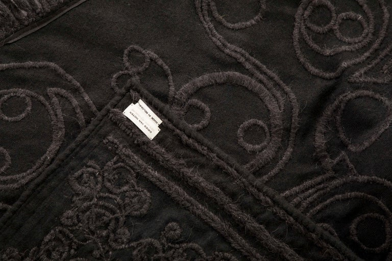 Dries Van Noten Runway Black Wool Embroidered Fringe Cape, Fall 2002 For Sale 9