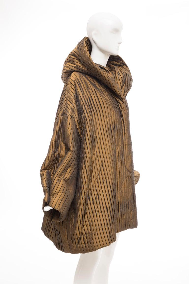 Romeo Gigli Bronze Silk Satin Nylon Hooded Coat, Fall 1989 In Excellent Condition For Sale In Cincinnati, OH