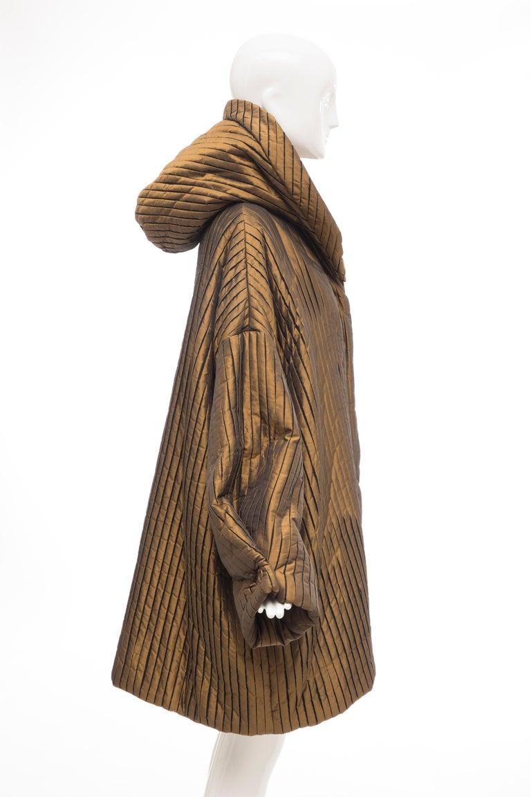 Women's Romeo Gigli Bronze Silk Satin Nylon Hooded Coat, Fall 1989 For Sale
