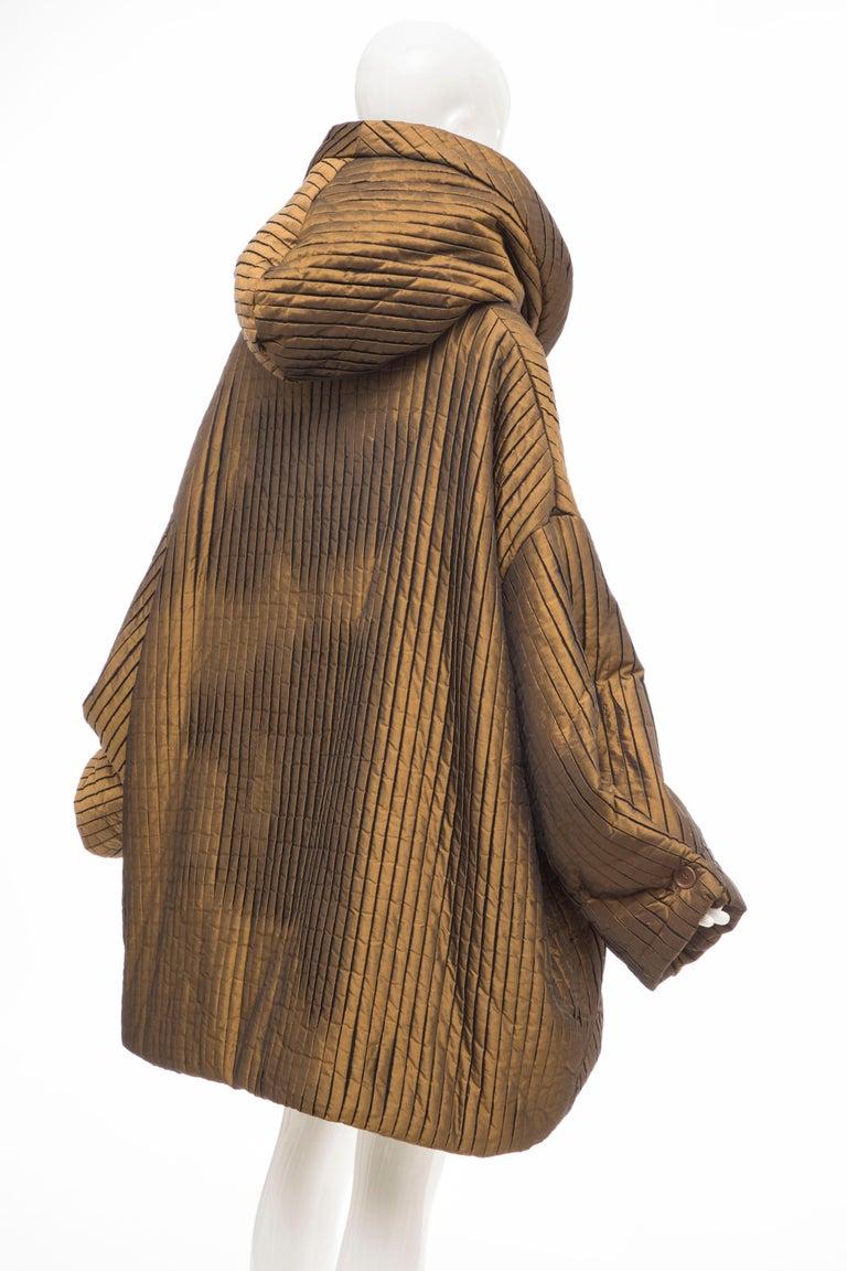 Romeo Gigli Bronze Silk Satin Nylon Hooded Coat, Fall 1989 For Sale 1