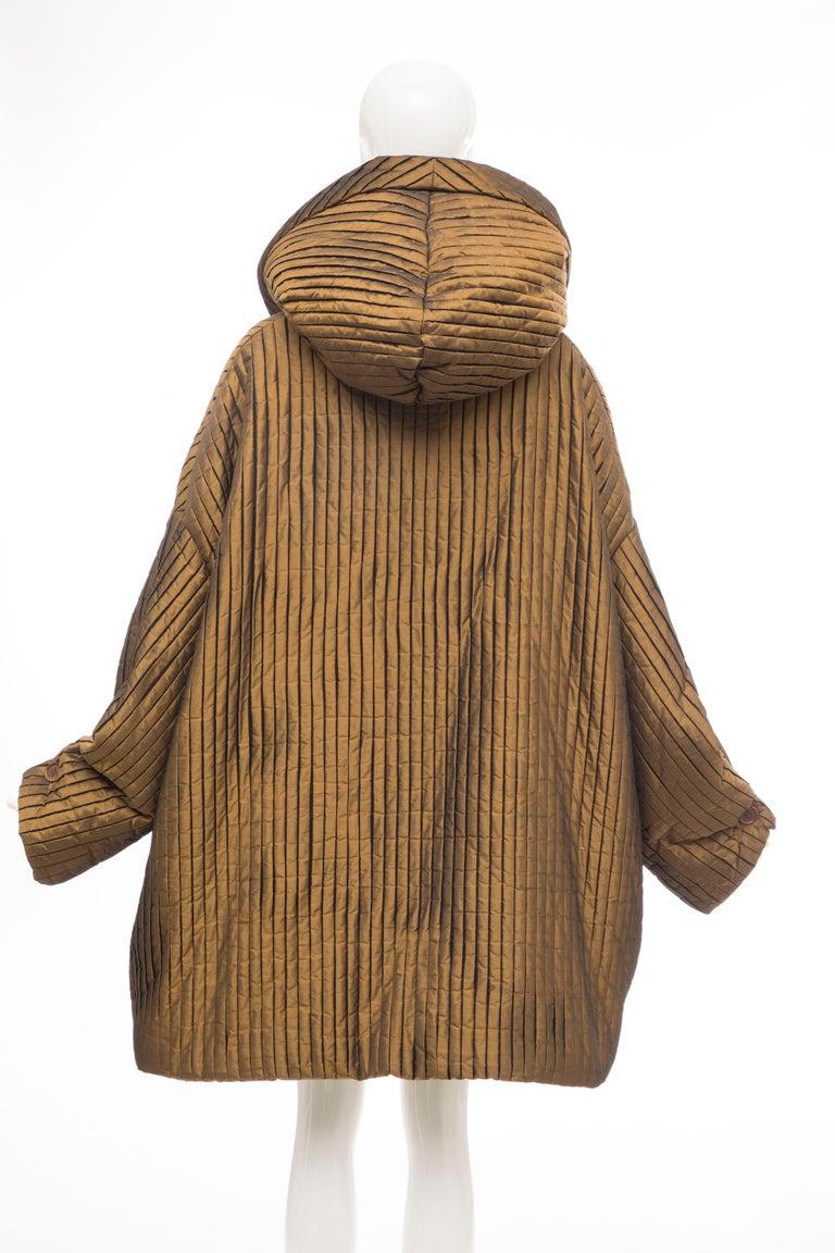 Romeo Gigli Bronze Silk Satin Nylon Hooded Coat, Fall 1989 For Sale 2