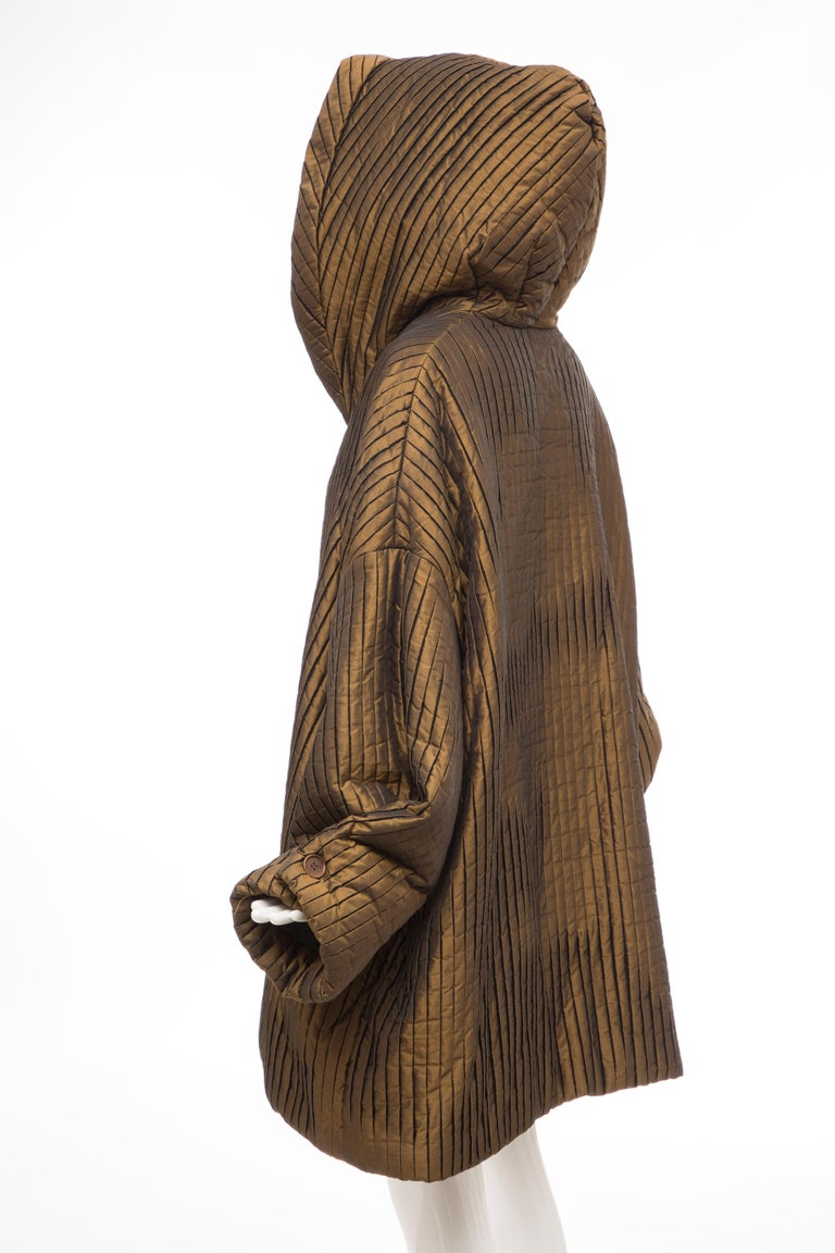 Romeo Gigli Bronze Silk Satin Nylon Hooded Coat, Fall 1989 For Sale 4