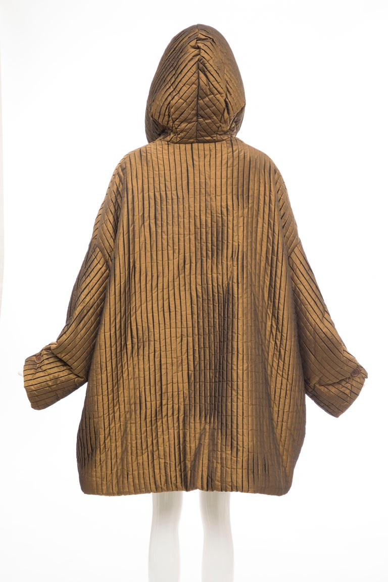 Romeo Gigli Bronze Silk Satin Nylon Hooded Coat, Fall 1989 For Sale 3