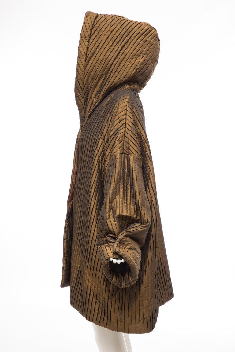 Romeo Gigli Bronze Silk Satin Nylon Hooded Coat, Fall 1989 For Sale 5