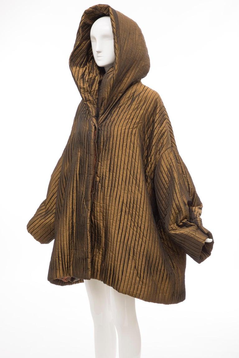 Romeo Gigli Bronze Silk Satin Nylon Hooded Coat, Fall 1989 For Sale 6