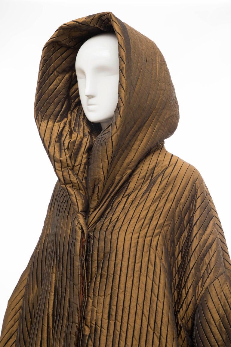 Romeo Gigli Bronze Silk Satin Nylon Hooded Coat, Fall 1989 For Sale 7
