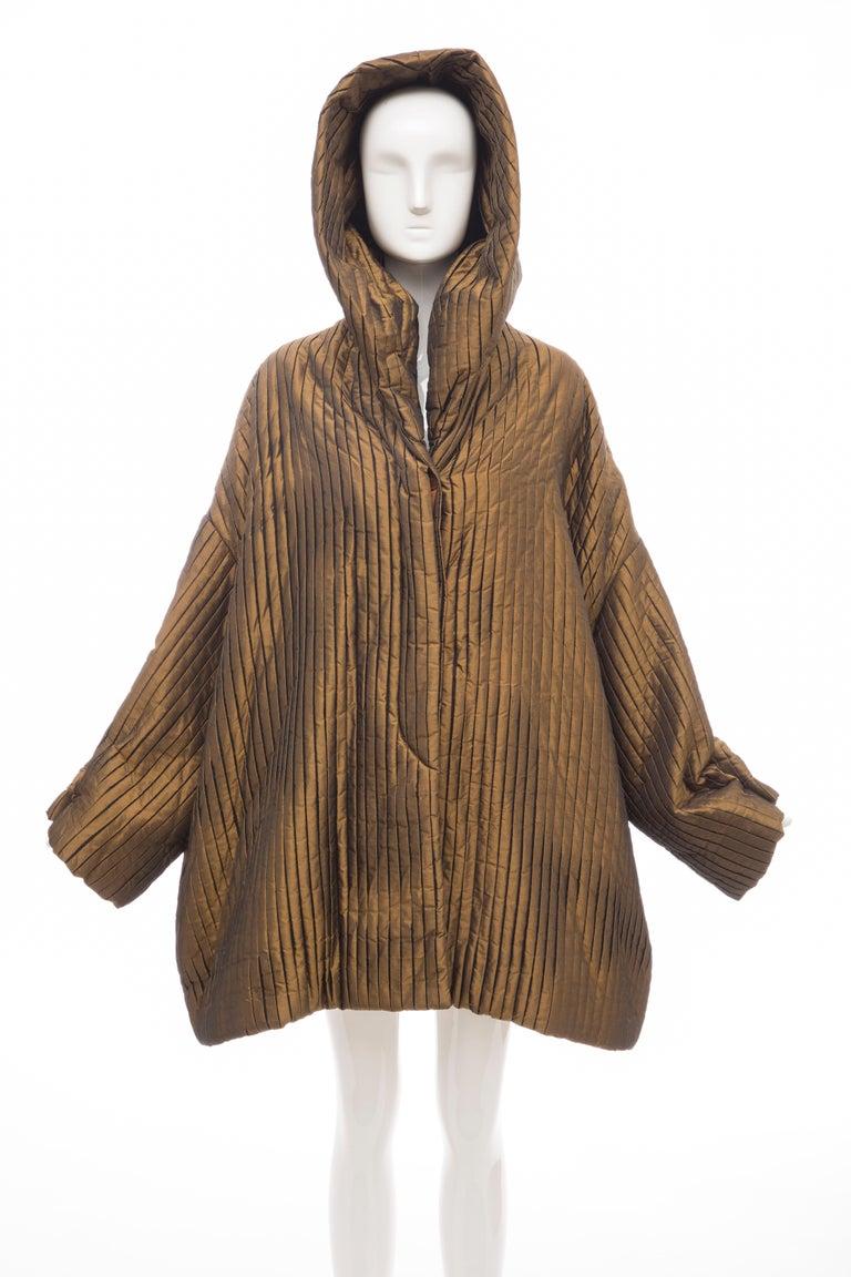 Romeo Gigli Bronze Silk Satin Nylon Hooded Coat, Fall 1989 For Sale 8
