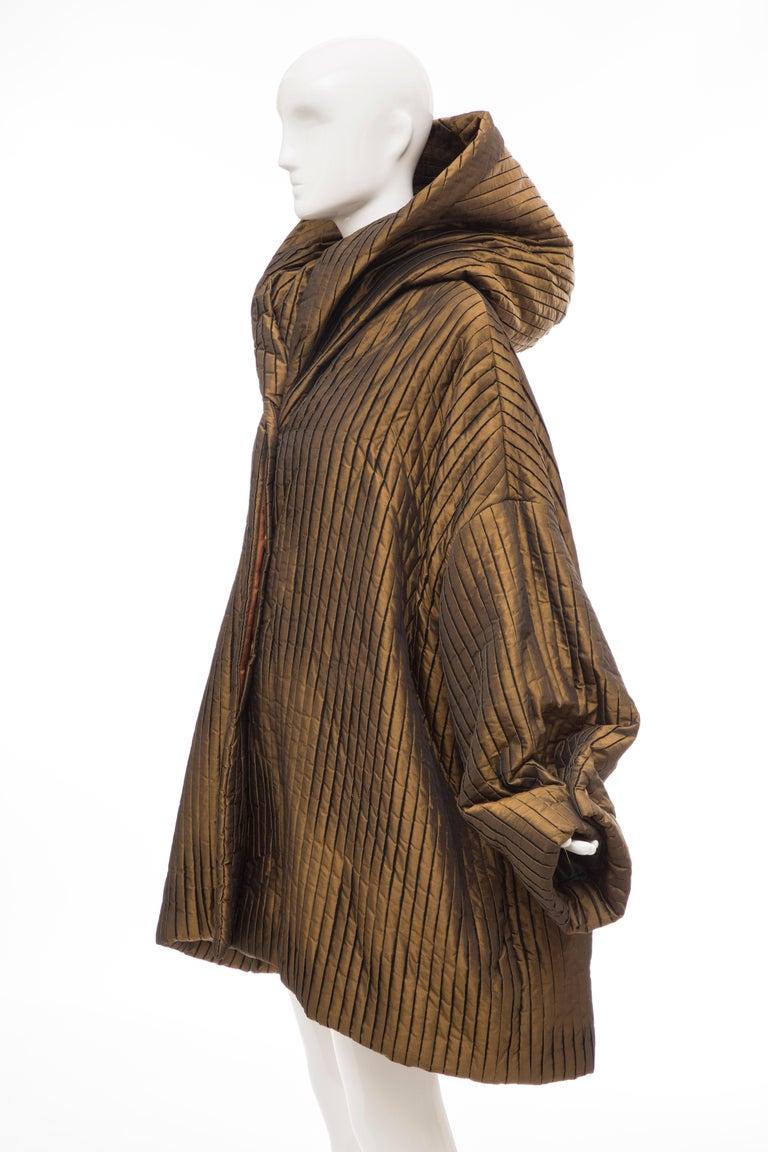 Romeo Gigli Bronze Silk Satin Nylon Hooded Coat, Fall 1989 For Sale 9