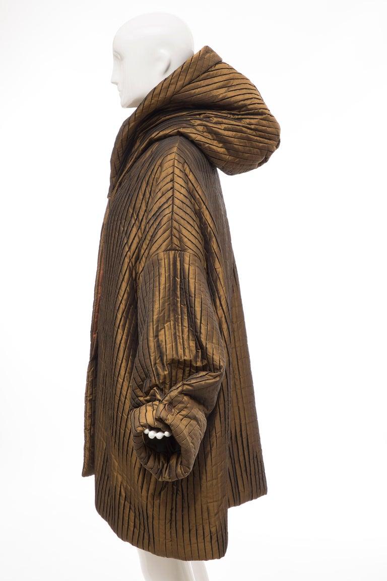 Romeo Gigli Bronze Silk Satin Nylon Hooded Coat, Fall 1989 For Sale 10