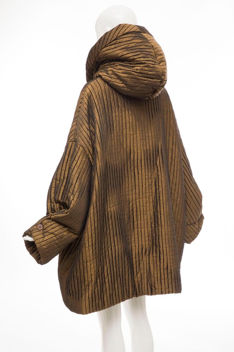 Romeo Gigli Bronze Silk Satin Nylon Hooded Coat, Fall 1989 For Sale 11