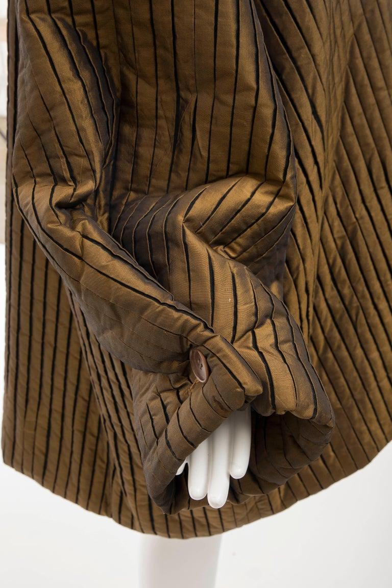 Romeo Gigli Bronze Silk Satin Nylon Hooded Coat, Fall 1989 For Sale 12