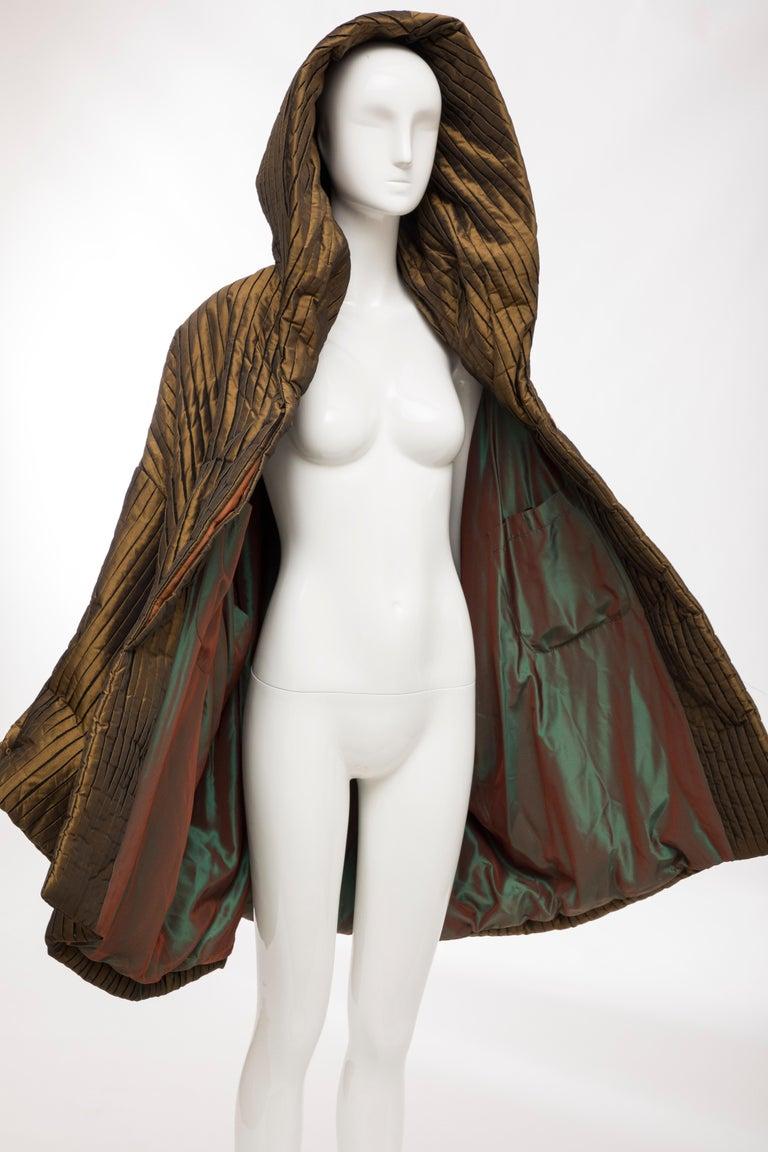Romeo Gigli Bronze Silk Satin Nylon Hooded Coat, Fall 1989 For Sale 13